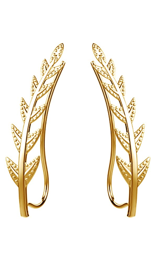 Ear Crawler Cuff Earrings 14k Yellow Gold Over Sterling Silver Ear Climber Studs Olive Leaf Hypoallergenic