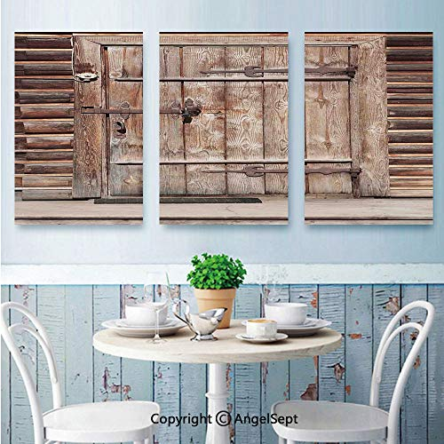 AngelSept Canvas Wall Art,Timber Rustic Door in Wall of an Old Log House Ancient Abandoned Building Entrance Gate Print,Wrapped on Frames,16