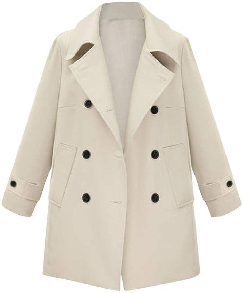 Abrigo Mujer Lana Tallas Grandes Invierno Sólido Solapa Cruzada Manga Larga Abrigo con Botones Abrigo de Lana de Cachemir Invierno