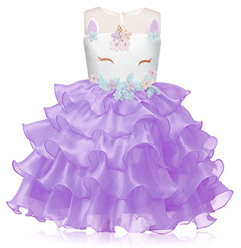 Cotrio Flower Girls Unicorn Tutu Dress for Wedding Pageant Party Costume Evening Gowns Halloween Costumes Size 6T (130, 5-6Years, Purple)