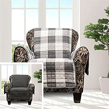 Charming MN 1 Piece Grey White Plaid Chair Protector, Hunting Themed Furniture  Protection Couch Cabin House
