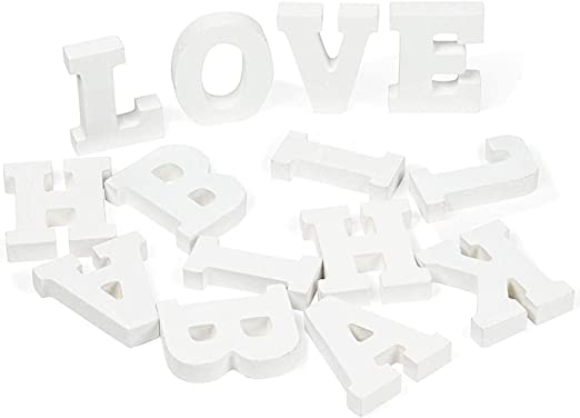 Birthday A 54-Piece Standing Wooden Alphabet and 2 Symbols Z Marquee Letters Party Genie Crafts White Wood Letters Home 1.38 x 3.13 x 0.6-Inch 3D Decor for Wedding