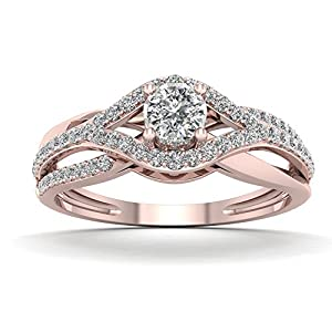 De Couer 10K Rose Gold 1/3ct TDW Diamond Split Shank Engagement Ring (H-I, I2)
