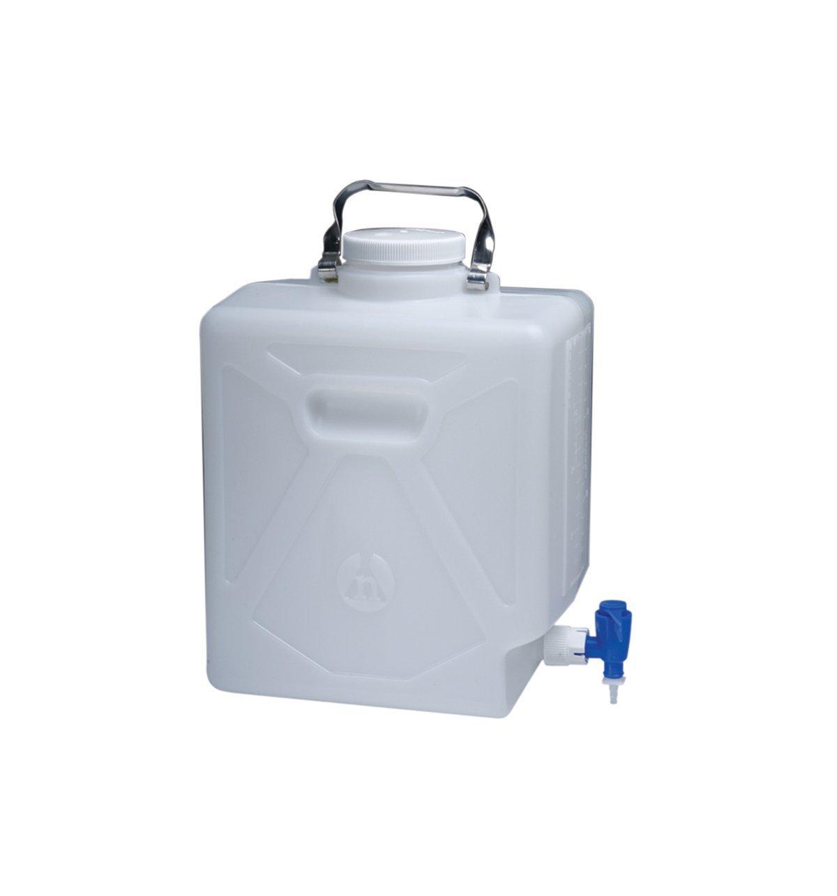 Nalgene High Density Polyethylene Rectangular Carboy with Spigot, 20L