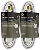 2-PACK - GE Extension Cord, Indoor, White with Tamper Guard, 9ft