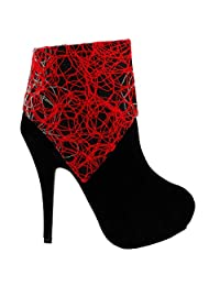 Show Story Womens Black Abstract Lines Print Stiletto Platform High Heel Ankle Boot Bootie,LF30309