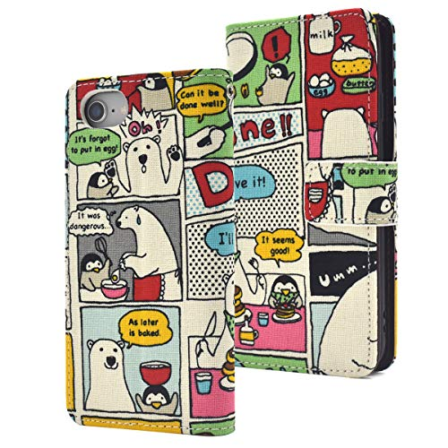 PLATA for iPhone 6 / 6s / 7/8 Case Japanese Cotton Bear and Penguin Print Case Pancake Recipe Story Magnetic Cover Wallet Case Note Book