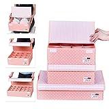 HOMESGU 3 Set Adjustable Storage Box Fabric Storage Bins Foldable Closet Underwear Organizer Drawer Divider kit for Underwear Bras Socks Ties(Set(Bra Box+16-Grid+24-Grid), Dot