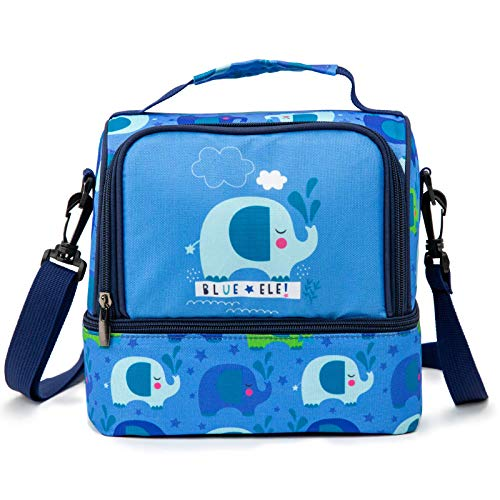 (Blue Ele BE05 Insulated Lunch Bags for Kids, bento Bags for School Toddlers, Water-Resistant Cooler Bags, 270oz, Blue with Pattern)