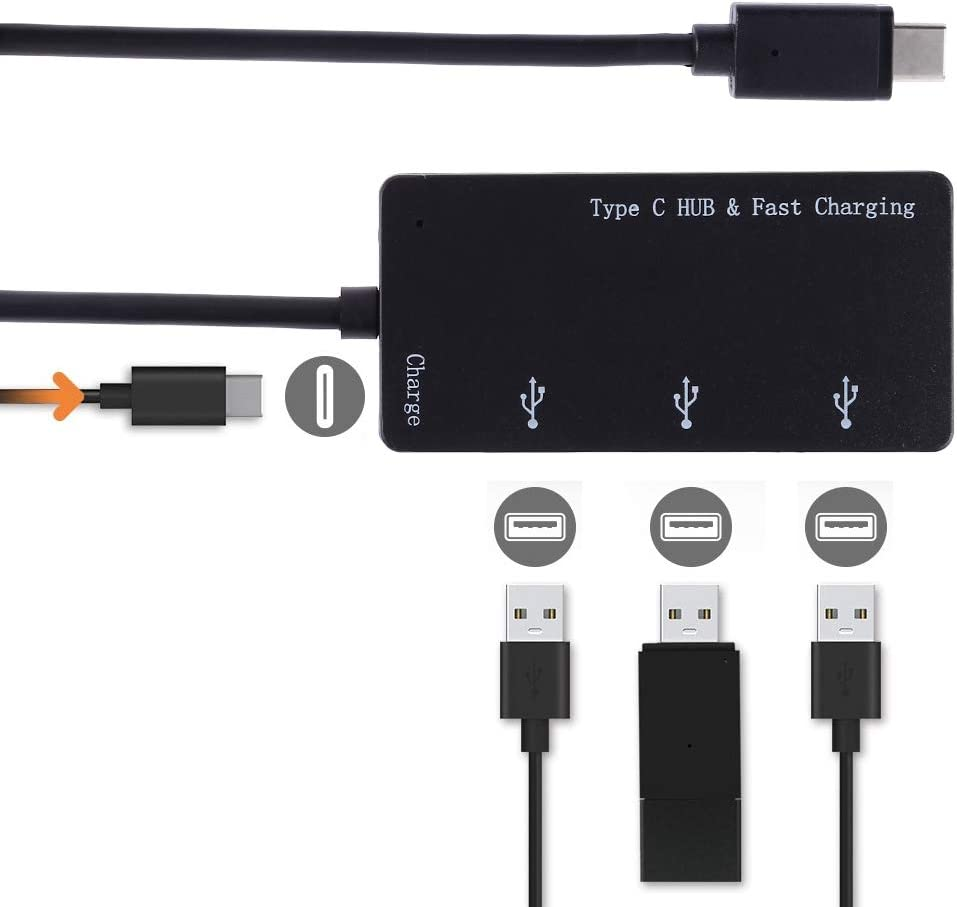 Card Reader Computer /& Networking 3 in 1 Type-C to Type-C Black Support PD Fast Charging 2 x USB Interfaces Charging HUB
