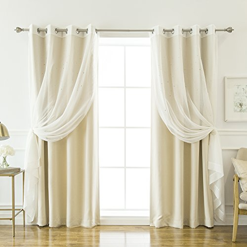 Best Home Fashion uMIXm Mix and Match Sheer Star Cut Out & Blackout Curtain Set - Stainless Steel Nickel Grommet Top - Beige - 52