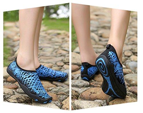 YMSD Männer Frauen Wasser Schuhe Schnell Trocknend Leichte Aqua Schuhe Für Wasser Mit Entwässerung Loch Für Strand Schwimmbad Surf Yoga Übung Blau