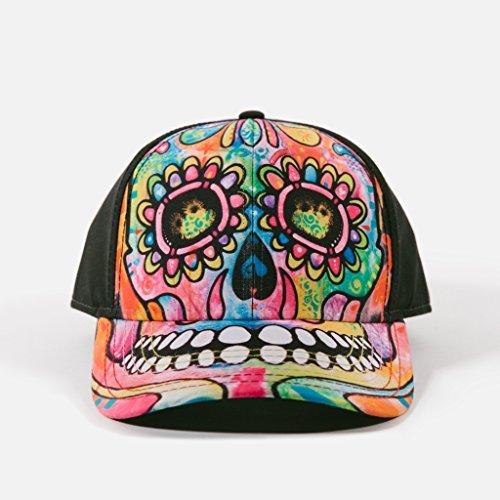 (The Mountain Unisex Dean Russo Black Baseball Cap Day of the Dead Skull)