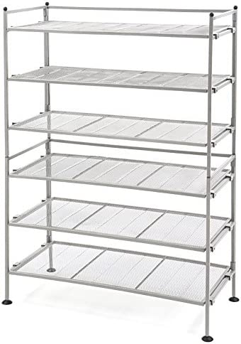 Seville Classics 6-Tier Stackable 24-Pair Steel Sturdy Metal Frame Storage Shelf for Bedroom, Closet, Entryway, Dorm Room, 3 (2-Pack), Satin Pewter Mesh, 2 Count