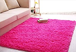 Forever Lover Soft Indoor Morden Shaggy Area Rug Pad, 2.5 X 5-Feet, Hot Pink