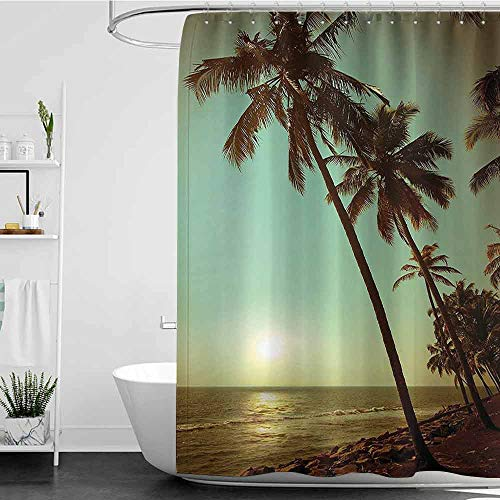 scenine Funny Shower Curtains for Men Palm Tree Decor,Sunset Tropical Beach Dusk on Pacific Ocean Vintage Exotic Landscape Print,Green Brown W72 x L96,Shower Curtain for Shower stall