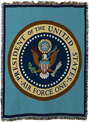 Price comparison product image Pure Country Weavers - Air Force One New Woven Tapestry Throw Blanket with Fringe Cotton USA Size 72 x 54