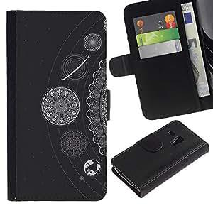 Planetar® Modelo colorido cuero carpeta tirón caso cubierta piel Holster Funda protección Para Samsung Galaxy S3 MINI / i8190 (Not For S3) ( Estrellas blancos Planetas Sistema Solar)