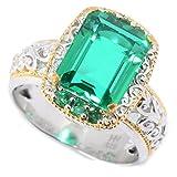 Michael Valitutti Palladium Silver Green Color Quartz Doublet & Eemerald ''Mini Czarina'' Cocktail Ring