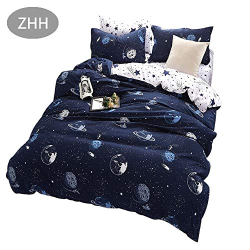 (ZHH Outer Space Celestial Galaxy Duvet Cover Set, Comforter Set Luxury Soft Bedding, Space Theme Kids Quilt Cover (Blue, 1 Quilt Coverlet & 2 Pillowcases, Queen Size))