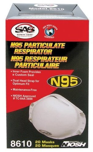 12 Pack SAS Safety 8610 N95 Rated Particulate Respirator / Dust Mask - 20 per Package