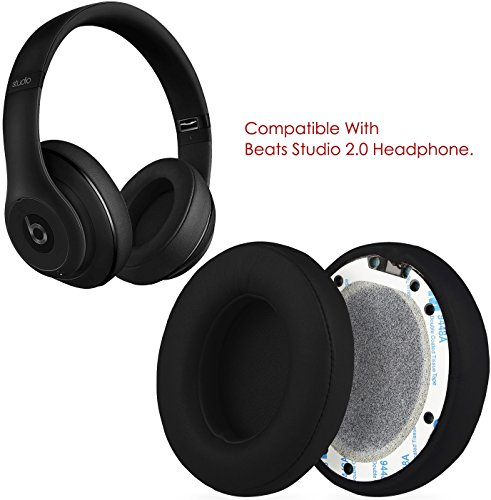 GPCT [Protein Leather Replacement Ear Pads] for Beats Studio 2.0 Headset. Easy Installation, Memory Foam Ear Cups Cushion Cover, Lightweight Ear Caps for Wired/Wireless Headphone [2 Pieces] [Black]