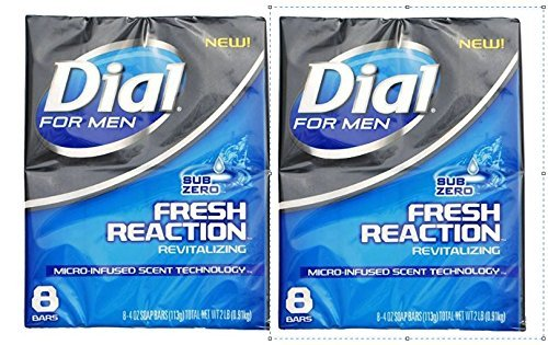 Dial for Men Fresh Reaction, Sub Zero Glycerin Bar Soap, 4 Oz Bars, 8 Ct. (2 pack)