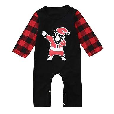 d9791c131 Amazon.com  Newborn Baby Girl Boy Christmas Santa Print Jumpsuit ...
