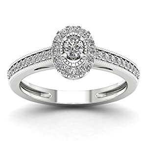 De Couer 10K White Gold 1/3ct TDW Diamond Halo Engagement Ring (H-I, I2)