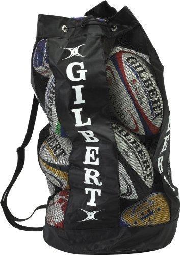 GILBERT Rugby Atmungsaktive Ball Taschen Reisetasche Mesh Schultergurt 12Bälle Halter schwarz - schwarz