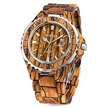 Bewell Wooden Watch for Men Analog Quartz Luminous Stainless Steel Bezel W100BG Wood Watch (Zebra Wood)