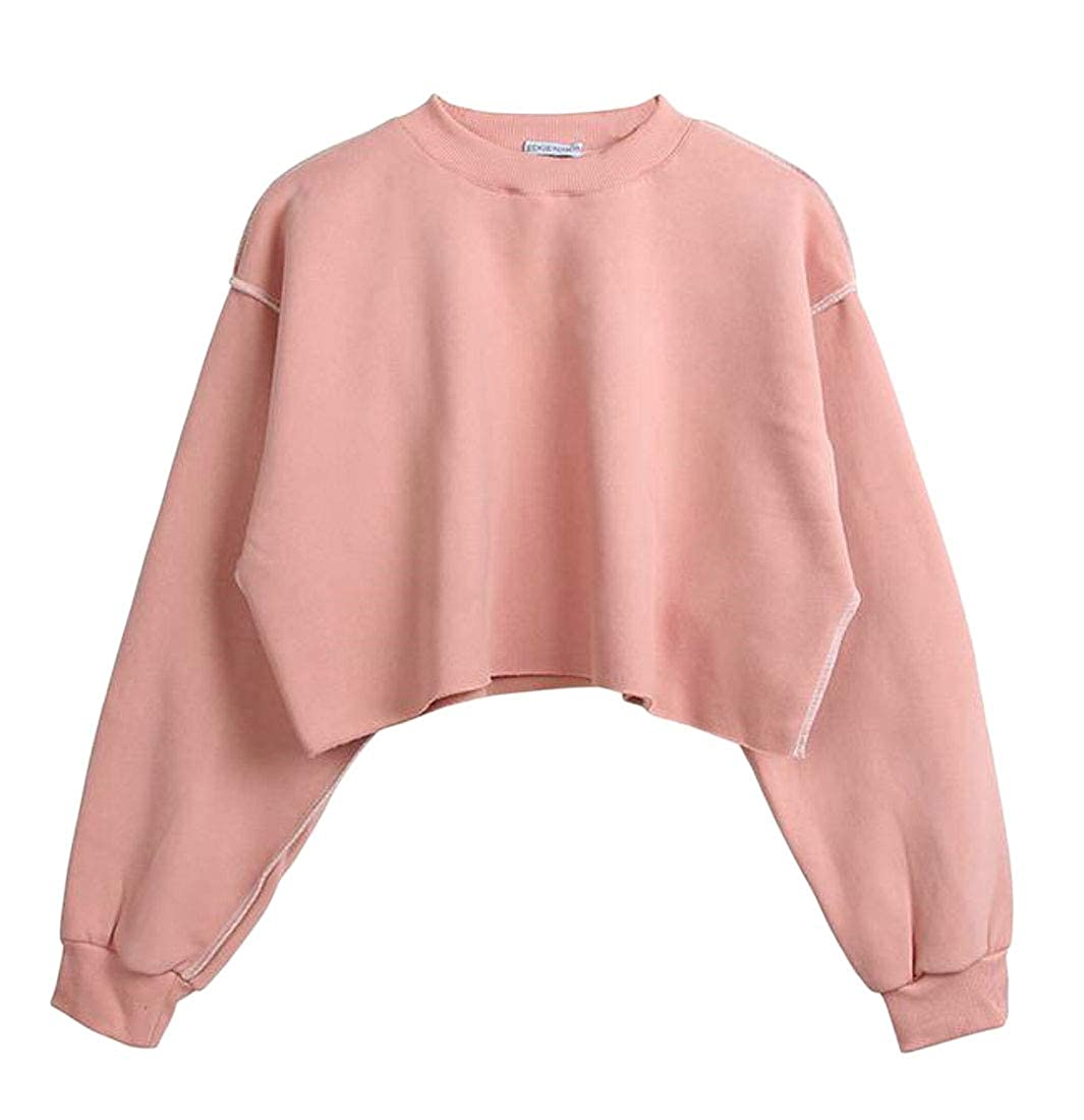XXBlosom Womens Autumn Solid Color O-Neck Plus Size Thick Pullover Crop Sweatshirts