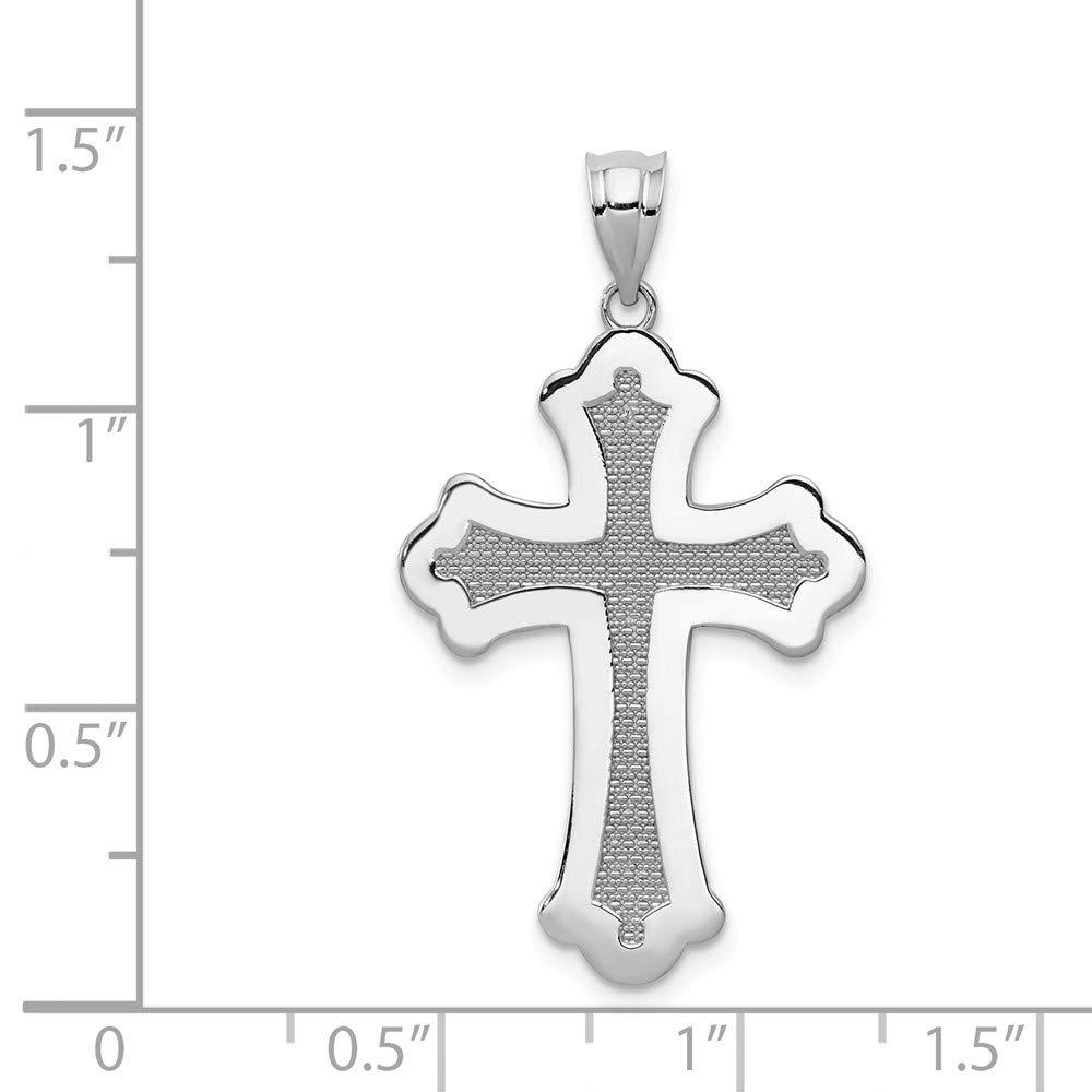 14k White Gold Polished Cross Pendant