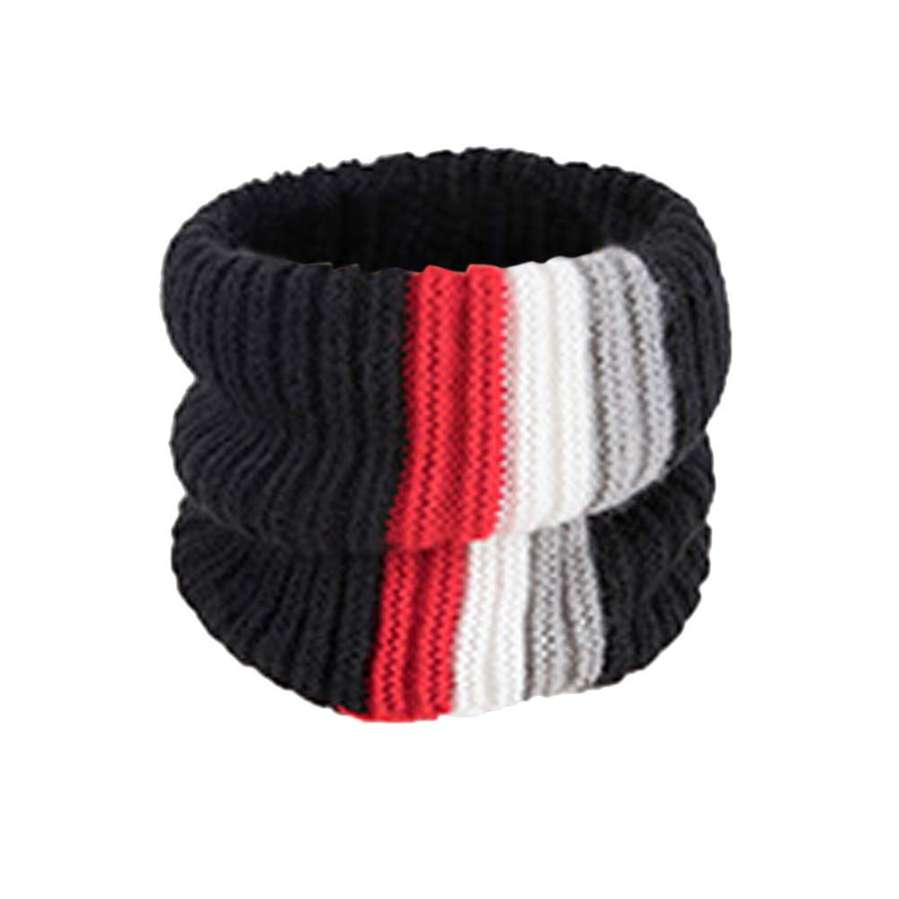 AKwell Child Winter Striped Patchwork Warm Knit Warm Scarf Single-Circle Knitted Scarf Cowl Neck Cotton Scarf Shawl Ring