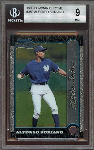 1999 bowman chrome #350 ALFONSO SORIANO yankees rookie card BGS 9 (9 9.5 9 8.5) Graded Card