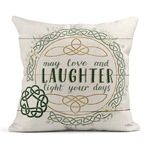Tarolo Linen Throw Pillow Cover Case Irish Blessings Inspirational Decorative Pillow Cases Covers Home Decor Square 18 x 18 Inches Pillowcases