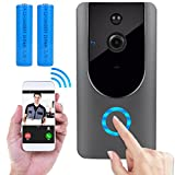 Wireless Doorbell, Smart Door Bells Home Security Bell Camera with Battery, Real-Time Video and Two-Way Talk Night Vision PIR Motion Detection