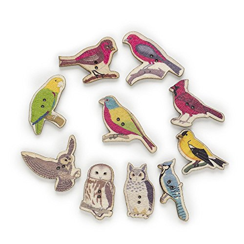 BarFeer 50Pcs 2 Hole Mixed Birds Wood Buttons Decor Sewing Scrapbooking Home Clothing Gift Card Making Diy 17-44Mm