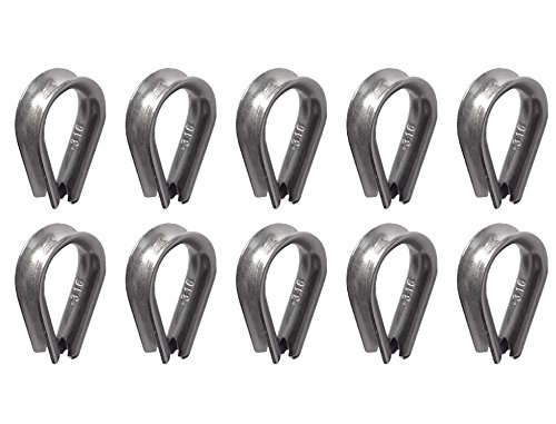 10 pieces Stainless Steel 316 5mm Rope Thimbles Marine Grade for rope size (Heavy Wire Rope Thimble)