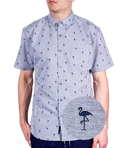- Visive Mens Hawaiian Flamingo Shirt Short Sleeve Button Up Tropical Shirts Grey Flamingo, XL