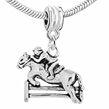 Jockey and Horse Jumping Over Fence Dangle Bead for snake Chain charm Bracelet