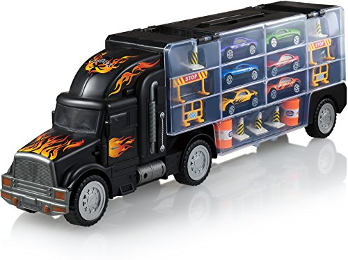 Car Carrier - Toy truck Includes 6 Toy Cars and Accessories - Toy Trucks Fits 28 Toy Car Slots - Great car toys Gift For Boys and Girls - Original - By Play22 (10 Best Cars)