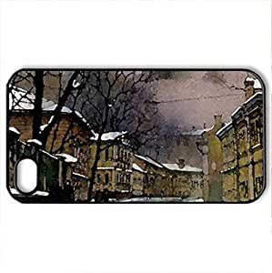 Snowy Russian Street 1 - Case Cover for iPhone 4 and 4s (Watercolor style, Black)