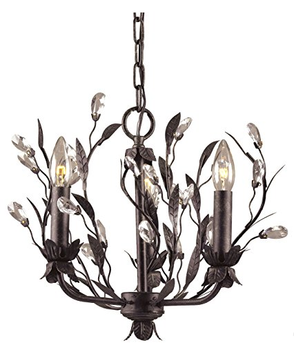 3 Light Chandelier Circeo (Circeo 3 Light Chandelier In Deep Rust And Crystal Droplets - Includes Recessed Lighting Kit)