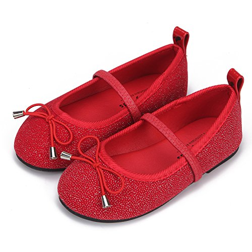 [Mooney Kids Girls Mary Jane Bowknot Glitter Flat Shoes (8)] (Toddler Red Glitter Shoes)