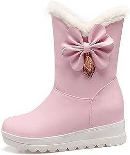 HRN Femmes Hiver Bottes de Neige épaississement Molleton doublé à l'intérieur augmenté Coton Bottes Chaudes Papillon Anti-dérapant Chaussures en Coton