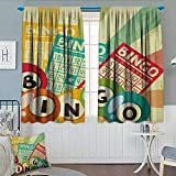 Anhounine Vintage,Blackout Curtain,Bingo Game with Ball and Cards Pop Art Stylized Lottery Hobby Celebration Theme,Customized Curtains,Multicolor,W63 x L45 inch