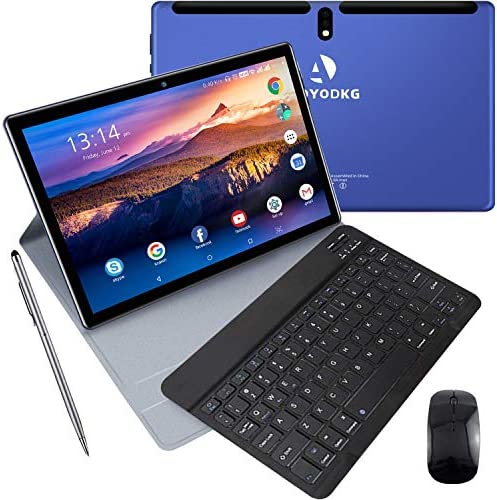10 inch Tablet with Keyboard and Mouse, 4 GB RAM + 64 GB ROM/256GB Expansion Quad-Core Android 9.0 Tablets WiFi Dual SIM 4G and TF Card Slot 8000mAh Type-C Bluetooth OTG Android Tablet 10 inch (Blue)