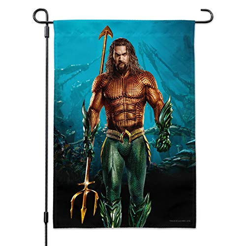GRAPHICS & MORE Aquaman Movie Jason Mamoa Full Costume Garden Yard Flag with Pole Stand Holder -