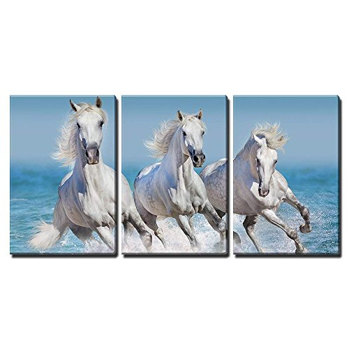 wall26 - 3 Piece Canvas Wall Art - Horse Herd Run Gallop in Waves in The Ocean - Modern Home Decor Stretched and Framed Ready to Hang - 16